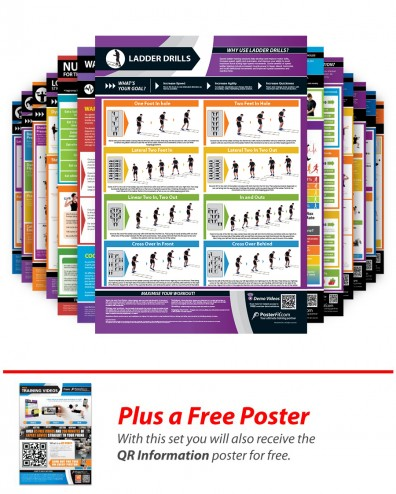 Full Set of 20 A1 Laminated Weight Training Posters (840mm x 595mm)